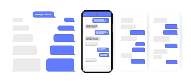 Social media konzept. smartphone mit karussell-messenger-chat-bildschirm. sms-vorlagenblasen zum verfassen von dialogen. moderner illustrationsstil.