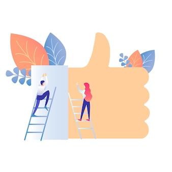 Social media-lebensstil-flache vektor-illustration
