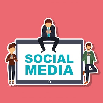 Social-media-leute mit handy-technologie