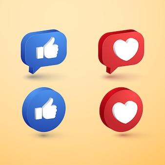 Social media lieben und mögen minimalistische 3d-button-icon