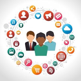 Social media männer isoliert icon design