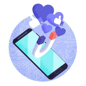 Social media-marketing auf mobilem konzept
