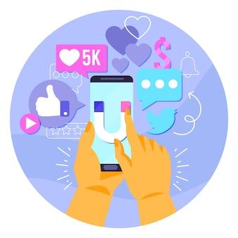 Social media marketing design auf dem handy