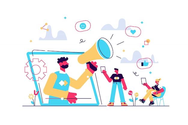 Social media marketing, digitale werbekampagne. smm-strategie. wie kommentar teilen werbegeschenk, soziale netzwerke förderung, wie landwirtschaftskonzept. isolierte konzept kreative illustration