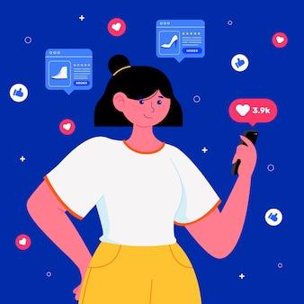 Social media marketing handy-konzept