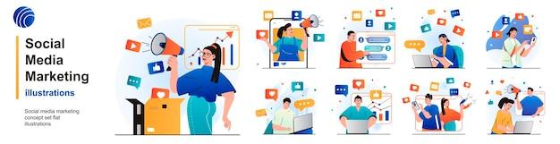 Social media marketing isoliertes set online-werbung geschäftskommunikation von szenen in wohnung