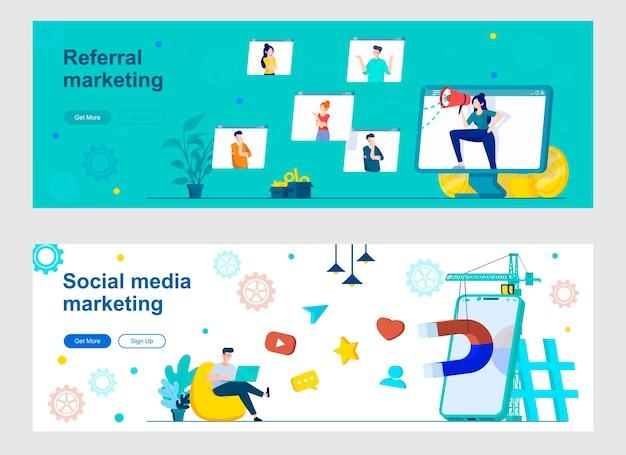 Social media marketing landing page set