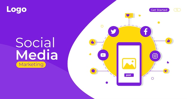 Social media marketing landing page template design