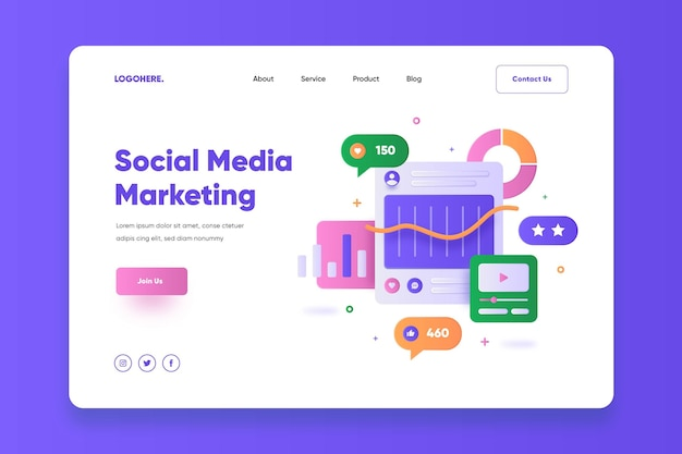 Social media marketing landing page vorlage
