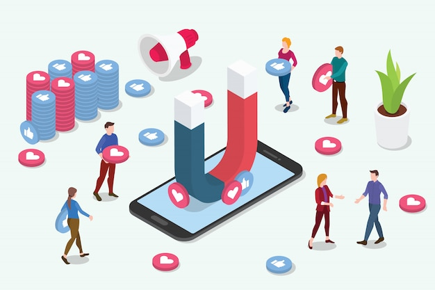 Social media-marketing-teamleute des isometrischen vireninhalts