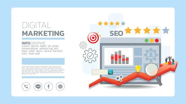 Social media marketing vorlagenkonzept mit emoji, webseite, suchsymbolen, chat und diagramm mit smartphone