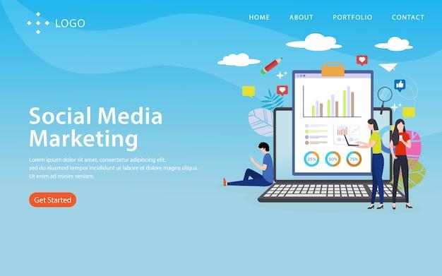 Social media-marketing, websiteschablone, überlagert, einfach zu redigieren und besonders anzufertigen, illustrationskonzept