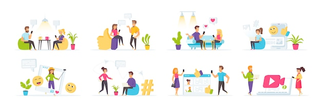 Social media mit personencharakteren in verschiedenen szenen und situationen.