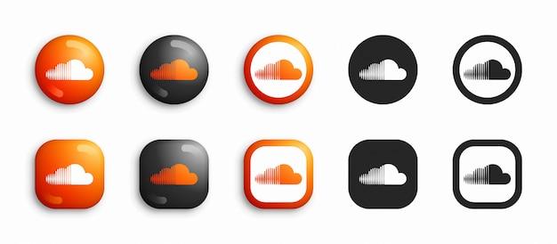 Social media modern 3d und flache icons set