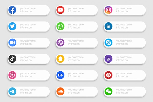 Social media network banner lower third icons set