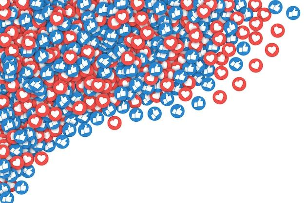 Social media network facebook verstreut wie symbole abstrakte illustration auf weißem hintergrund