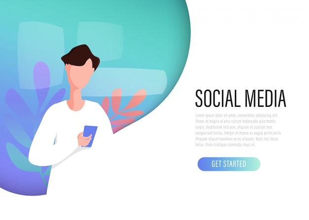 Social media network-netz landing page kommunikationskonzept.