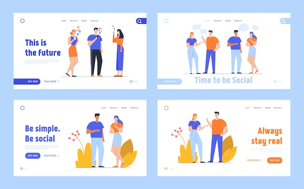 Social media networking und people communication landing page
