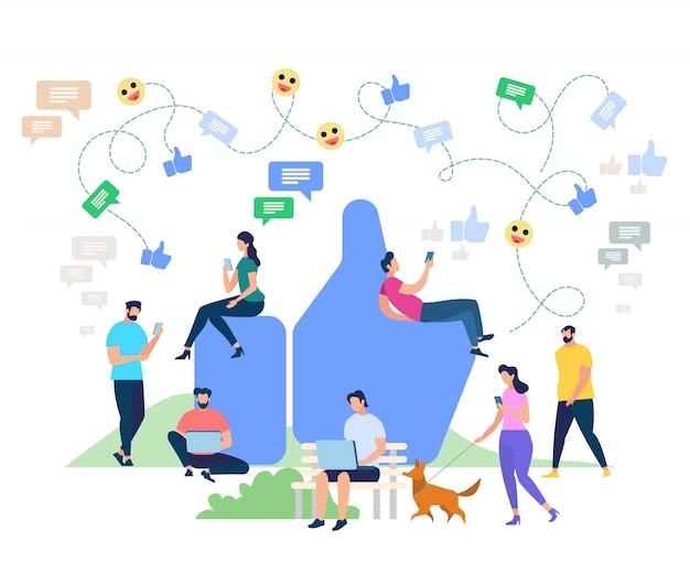 Social media networking zeichentrickfiguren