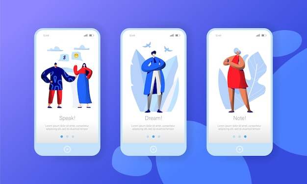 Social media netzwerk business character mobile app seite onboard screen set.