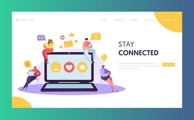 Social media netzwerk charakter chat landing page design