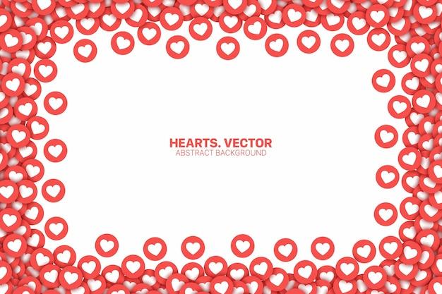 Social media netzwerk instagram like hearts rote symbole rahmen isoliert.