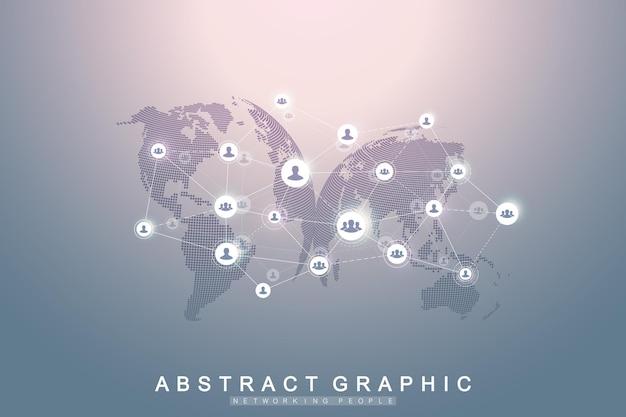 Social media netzwerk und marketingkonzept auf weltkartenhintergrund. globales geschäftskonzept und internet-technologie, analytische netzwerke. illustration