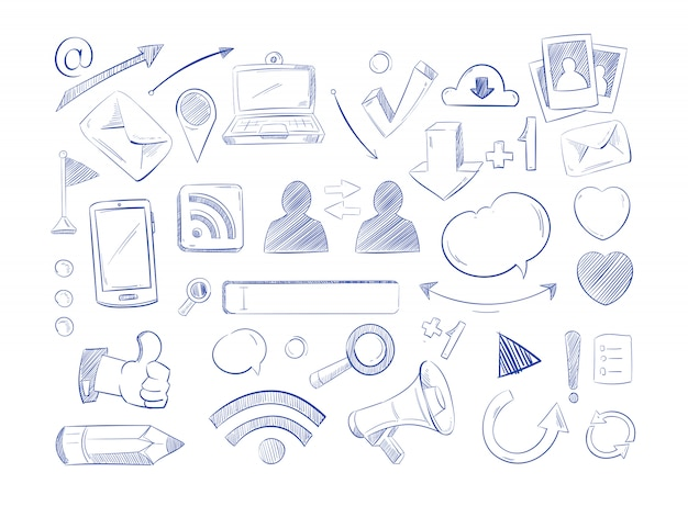 Social media-netzwerkvektor kritzelt, ikonen des internet-computerhandabgehobenen betrages