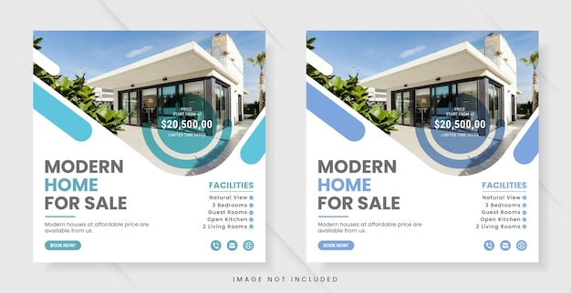 Social media- oder instagram-post-banner-vorlage für immobilien