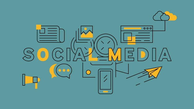 Social media-orange in der blauen linie design