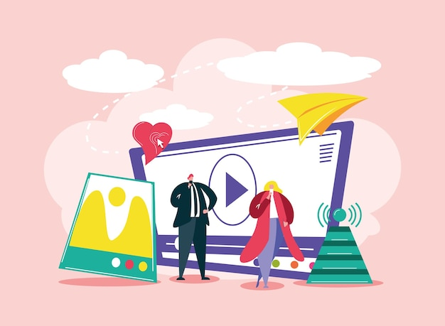 Social media people technologie video