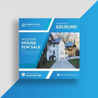Social-media-post-banner für immobilien und design-vorlage für instagram-posts