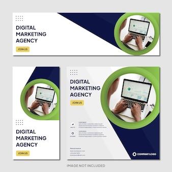 Social-media-post-banner-vorlage für digitale marketingagentur