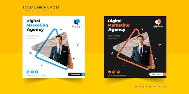 Social-media-post des digitalen marketinggeschäfts mit dreiecksrahmensammlung