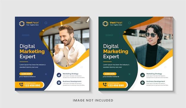 Social-media-post-design oder bearbeitbarer quadratischer flyer der agentur für digitales geschäftsmarketing