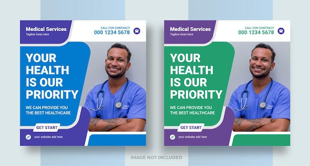 Social-media-post für das medizinische gesundheitswesen instagram-banner-design