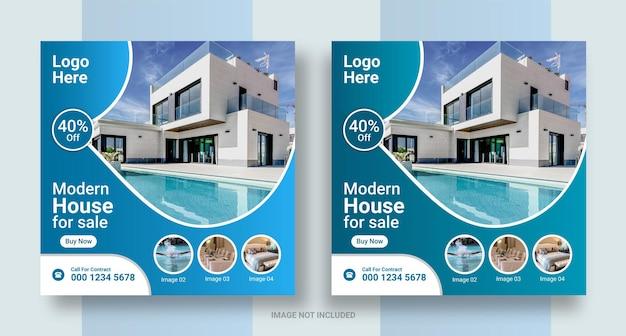 Social-media-post für immobilien, instagram-post oder quadratisches web-banner-design