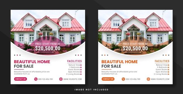 Social-media-post oder banner-vorlage für immobilien