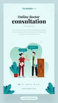 Social-media-post-story-vorlage, mit illustrationsdoktor, pflanze und bücherregal