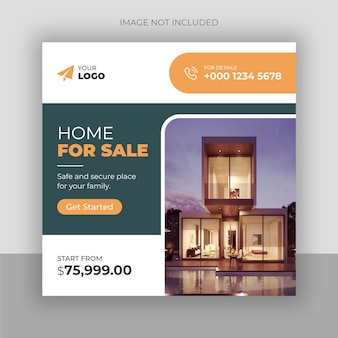 Social-media-post und quadratisches flyer-vorlagendesign für das immobiliengeschäft