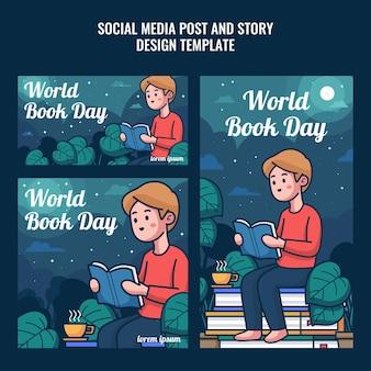 Social media post und story für einen glücklichen weltbuchtag