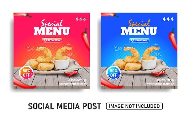 Social media post vorlage für den verkauf von meeresfrüchten