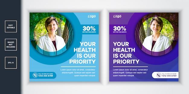 Social media post vorlage für gesundheitswesen und medizin
