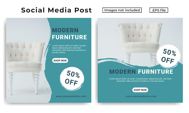 Social media post-vorlage für möbel