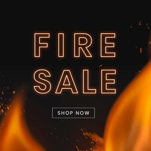 Social-media-post-vorlage, heiße verkaufs-shopping-anzeige, mit brennendem flammenvektor