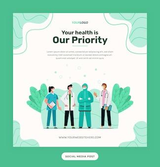 Social-media-post-vorlage, illustrationscharakter mit medizinischem outfit kann für druck, infografik, präsentation verwendet werden