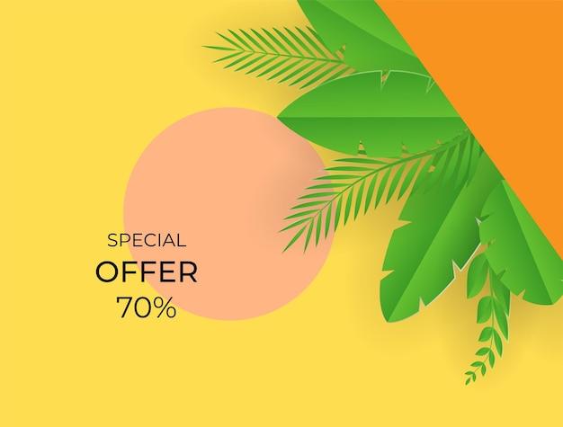 Social-media-post-vorlage mit blumen- und blätterelementen. frischer gelber herbsthintergrund mit palmen, blättern, monstera. vektorillustration für einladung, postkarte, modeverkauf