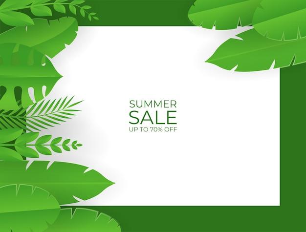 Social-media-post-vorlage mit blumen- und blätterelementen. frischer grüngelber sommerhintergrund mit palmen, blättern, monstera. vektorillustration für einladung, postkarte, modeverkauf