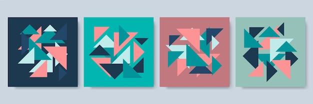 Social-media-post-vorlage mit bunter geometrischer textur. abstrakte geometrische moderne vorlage für geschäfts- oder technologiepräsentation, vektorillustration
