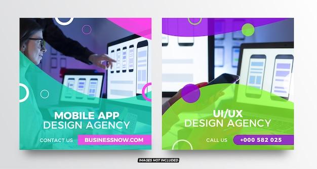 Social-media-post-vorlagen des mobile app design-unternehmens